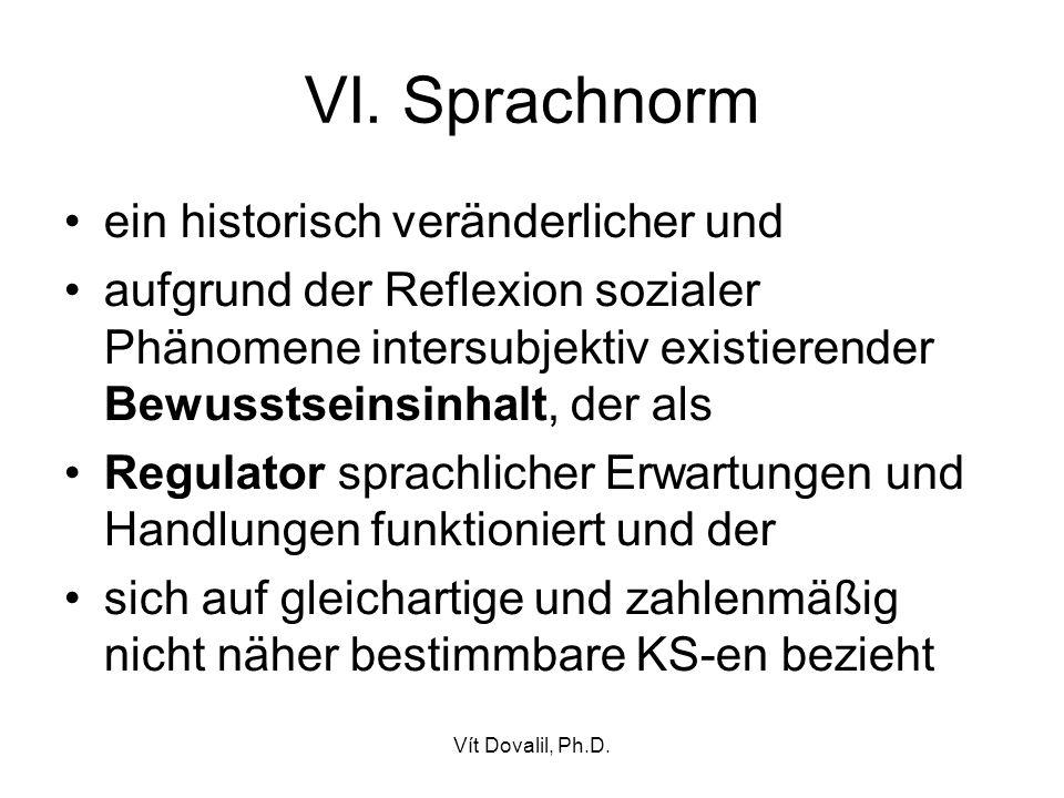 VI. Sprachnorm ein historisch veränderlicher und