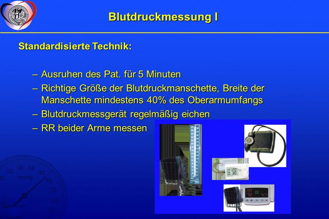 Blutdruckmessung I Standardisierte Technik: