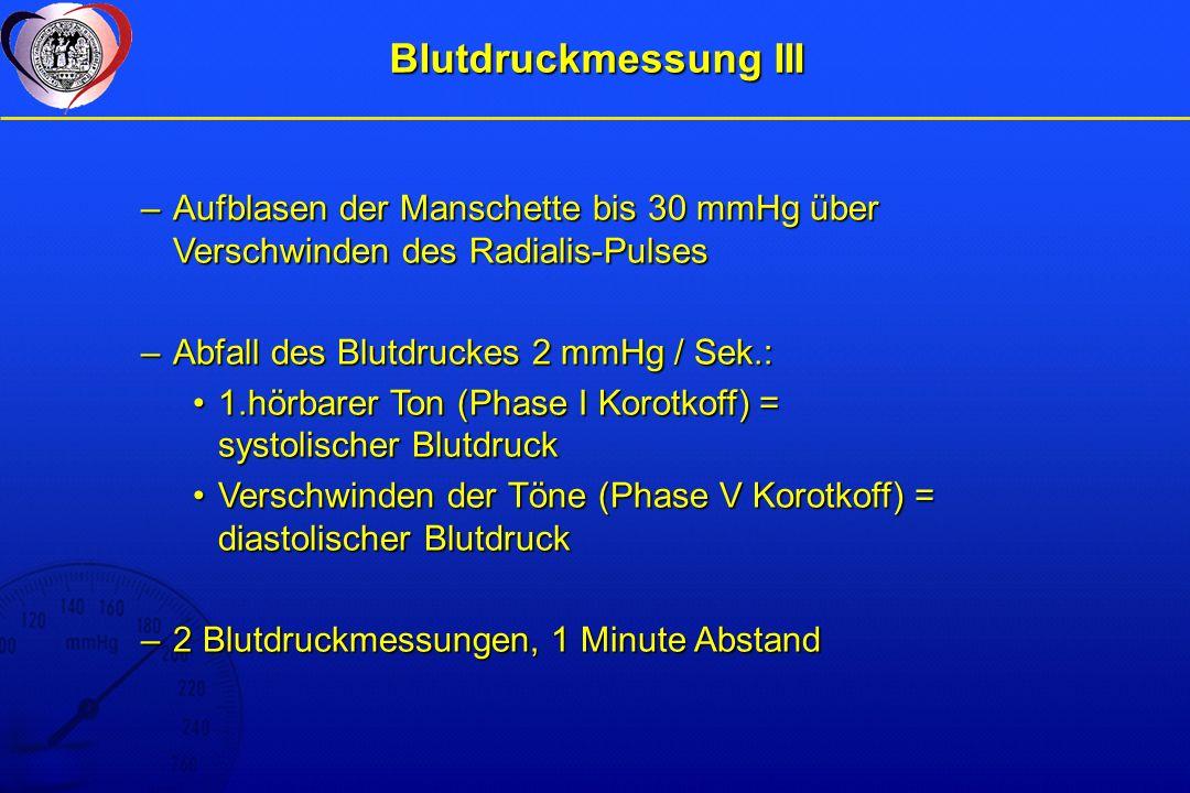 Blutdruckmessung III Aufblasen der Manschette bis 30 mmHg über Verschwinden des Radialis-Pulses. Abfall des Blutdruckes 2 mmHg / Sek.: