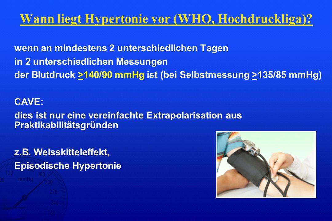 Wann liegt Hypertonie vor (WHO, Hochdruckliga)