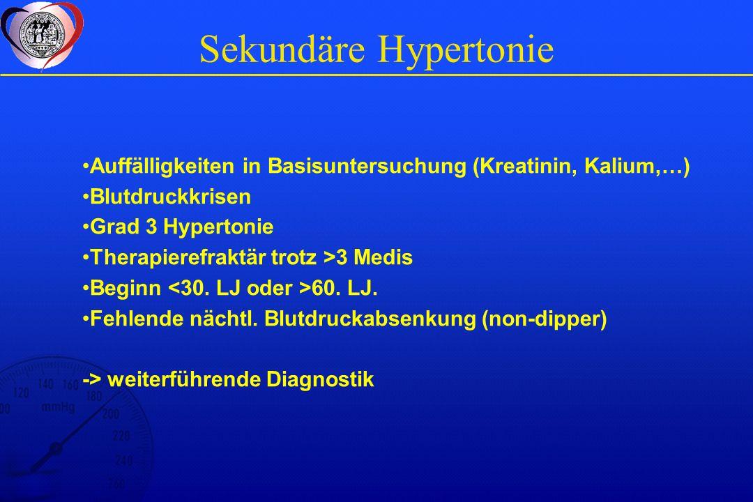Sekundäre Hypertonie Auffälligkeiten in Basisuntersuchung (Kreatinin, Kalium,…) Blutdruckkrisen. Grad 3 Hypertonie.