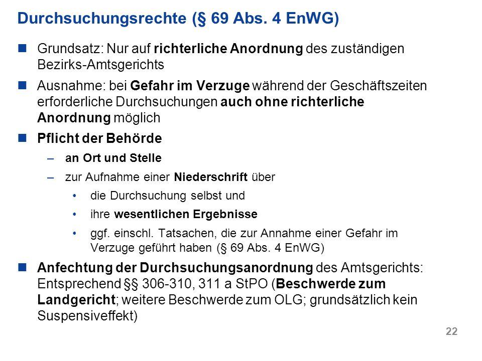 Durchsuchungsrechte (§ 69 Abs. 4 EnWG)