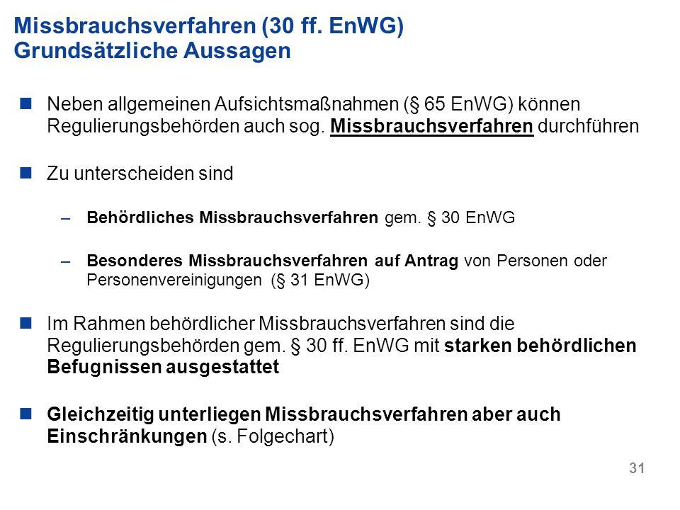 Missbrauchsverfahren (30 ff. EnWG) Grundsätzliche Aussagen