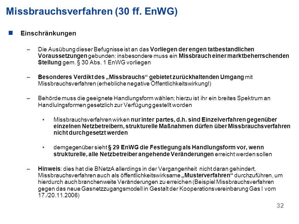Missbrauchsverfahren (30 ff. EnWG)