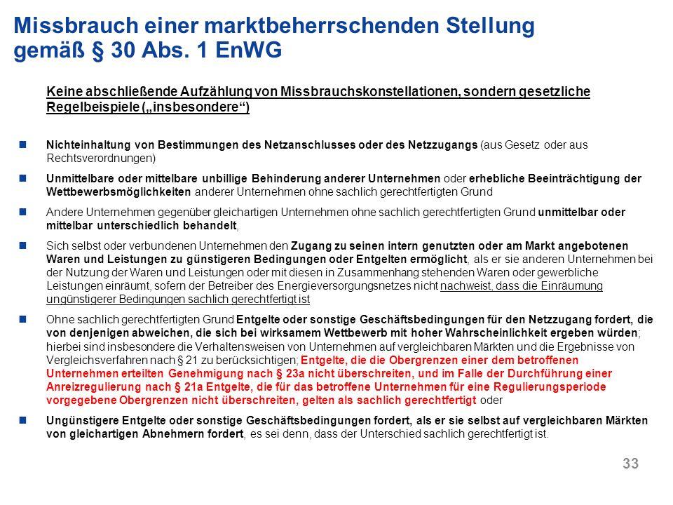 Missbrauch einer marktbeherrschenden Stellung gemäß § 30 Abs. 1 EnWG