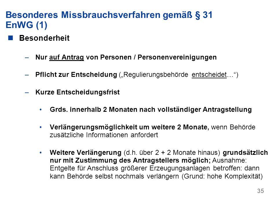 Besonderes Missbrauchsverfahren gemäß § 31 EnWG (1)