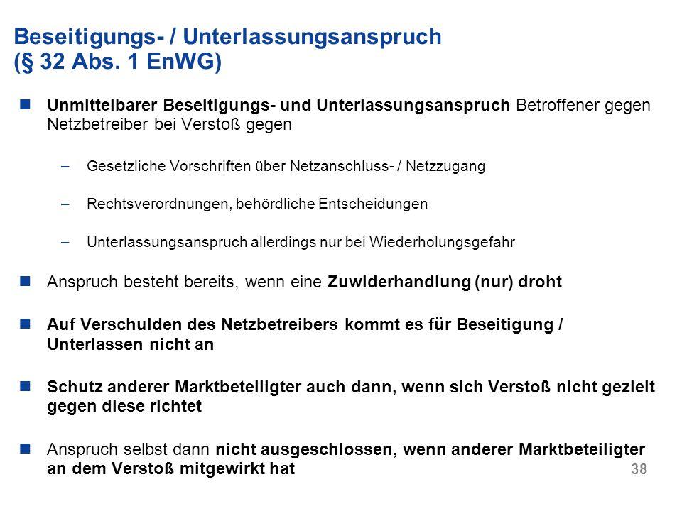 Beseitigungs- / Unterlassungsanspruch (§ 32 Abs. 1 EnWG)
