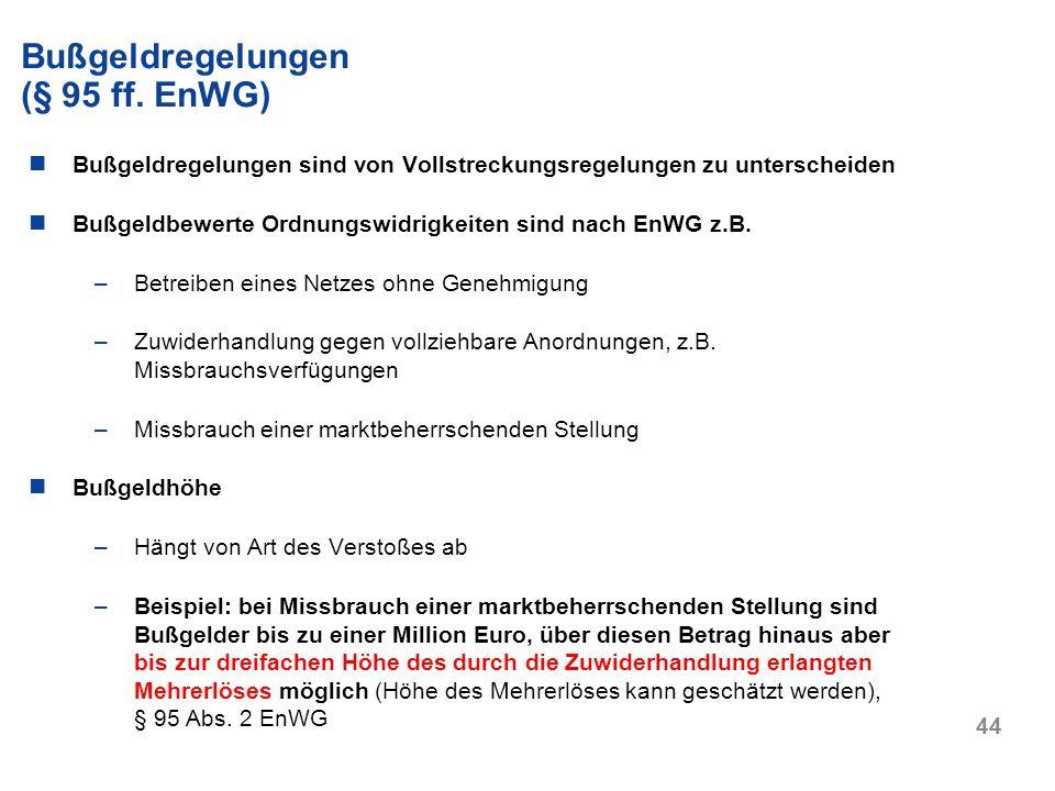 Bußgeldregelungen (§ 95 ff. EnWG)