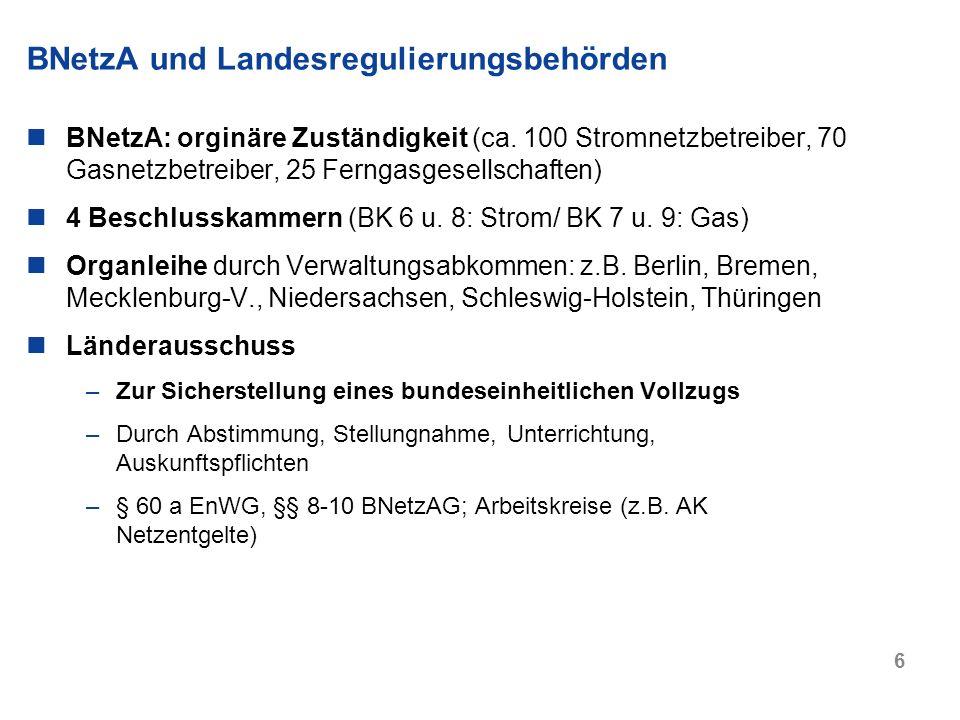 BNetzA und Landesregulierungsbehörden