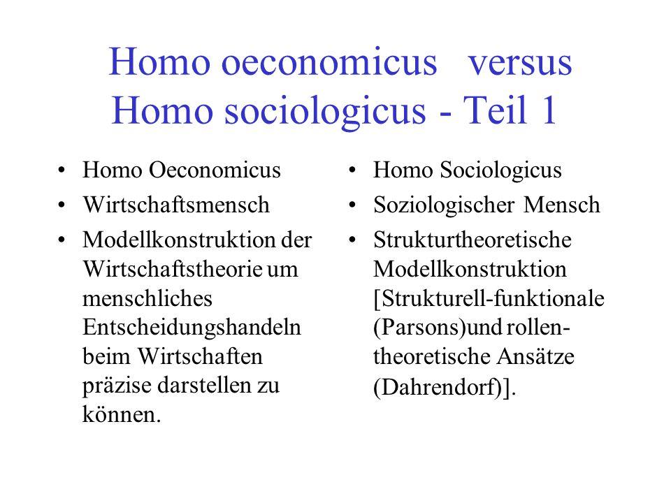 Homo oeconomicus versus Homo sociologicus - Teil 1
