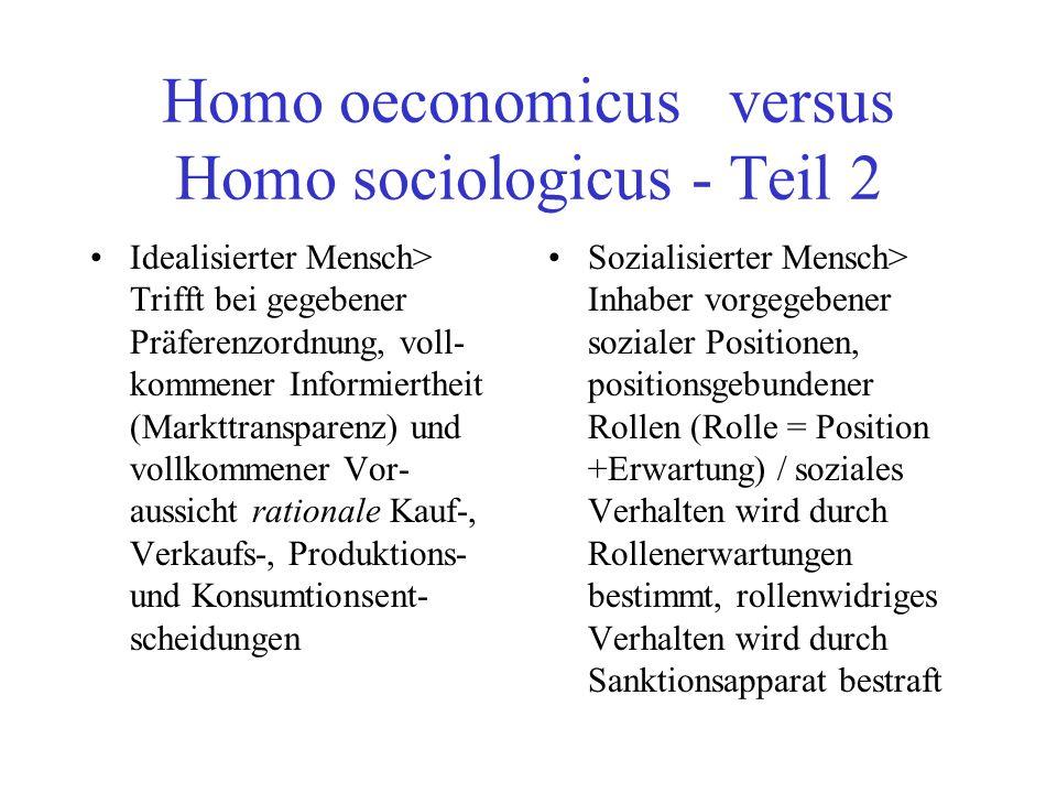Homo oeconomicus versus Homo sociologicus - Teil 2