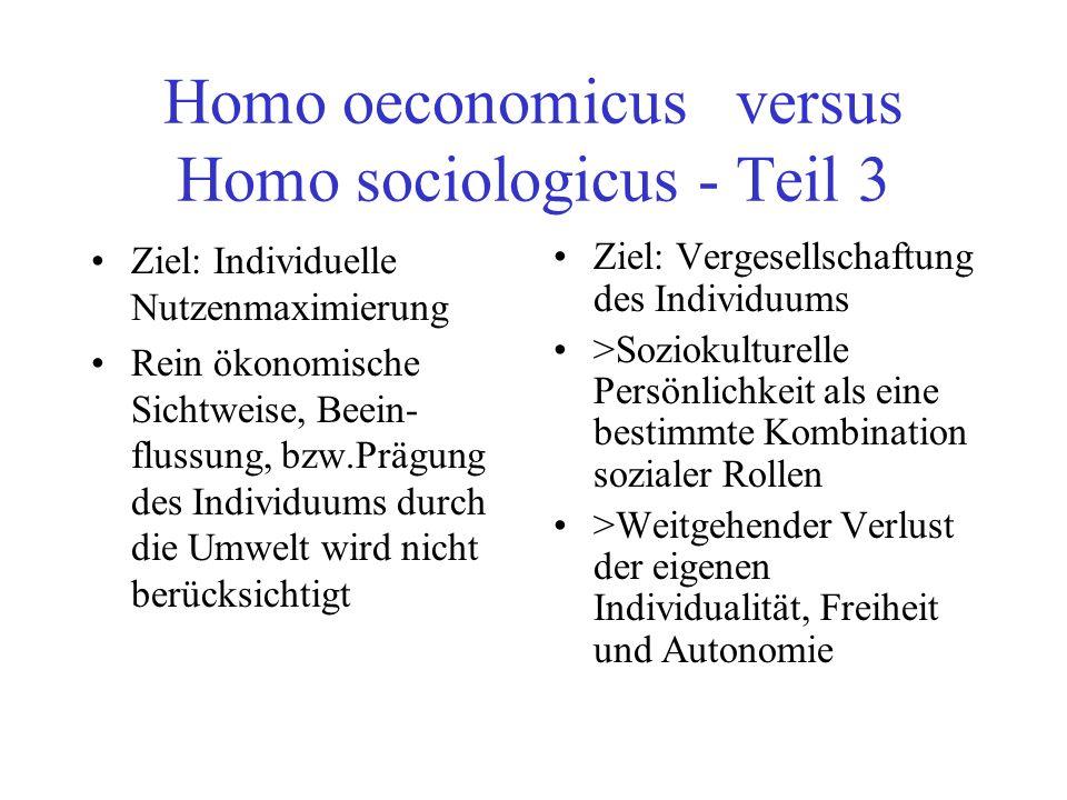 Homo oeconomicus versus Homo sociologicus - Teil 3