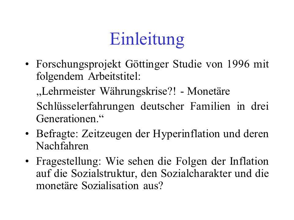 """Einleitung Forschungsprojekt Göttinger Studie von 1996 mit folgendem Arbeitstitel: """"Lehrmeister Währungskrise ! - Monetäre."""