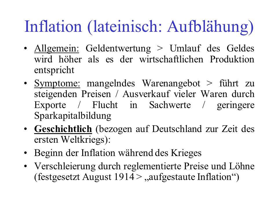 Inflation (lateinisch: Aufblähung)
