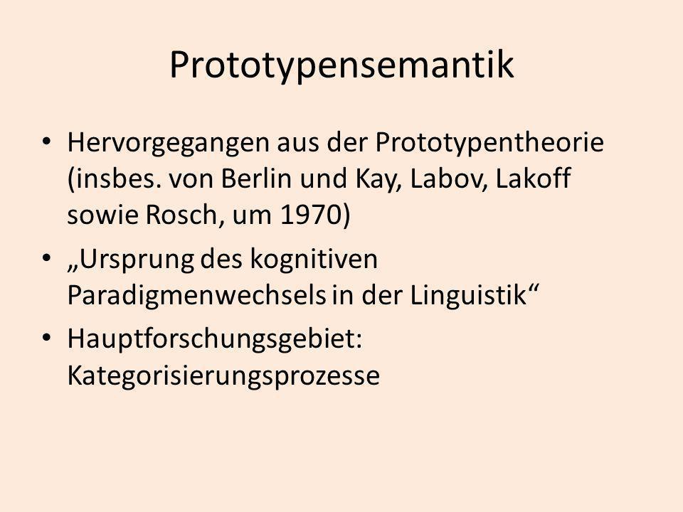 Prototypensemantik Hervorgegangen aus der Prototypentheorie (insbes. von Berlin und Kay, Labov, Lakoff sowie Rosch, um 1970)