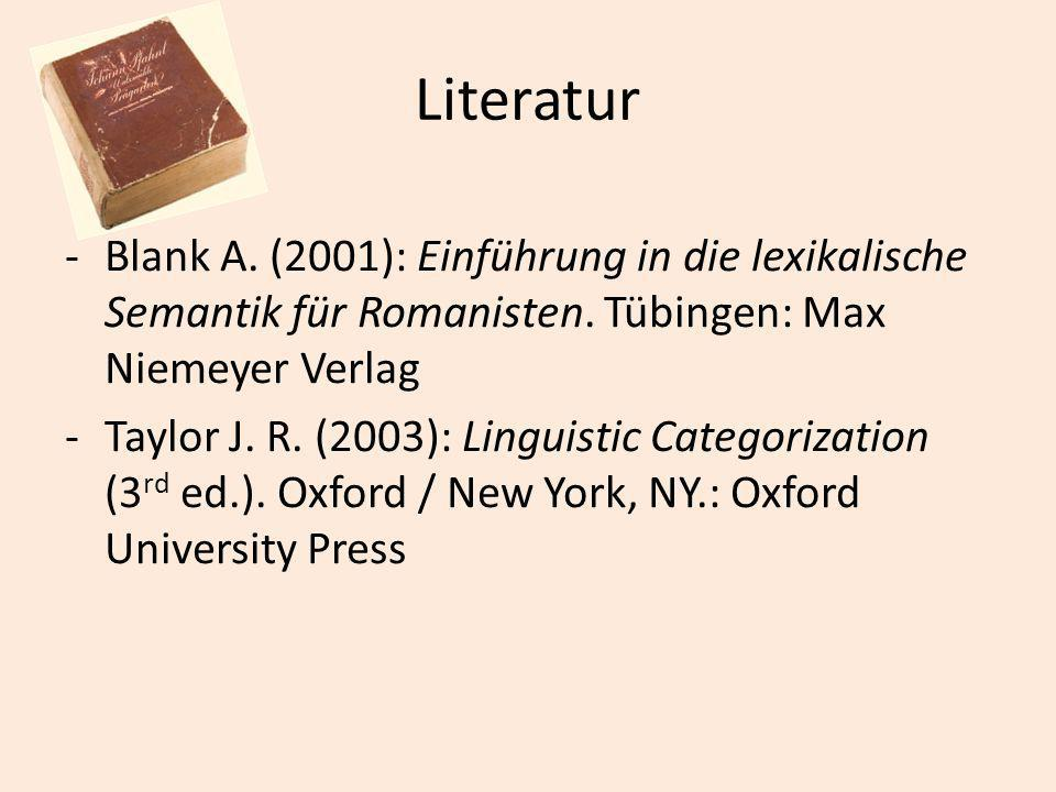 Literatur Blank A. (2001): Einführung in die lexikalische Semantik für Romanisten. Tübingen: Max Niemeyer Verlag.