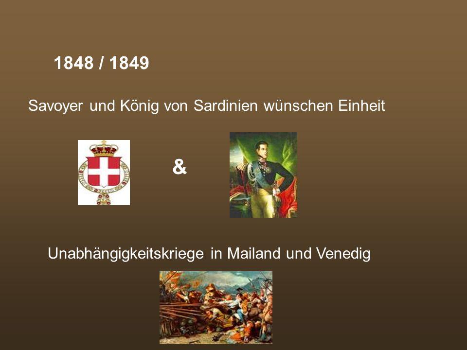 & 1848 / 1849 Savoyer und König von Sardinien wünschen Einheit