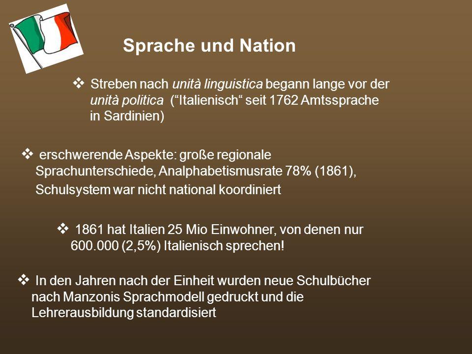 Sprache und Nation Streben nach unità linguistica begann lange vor der