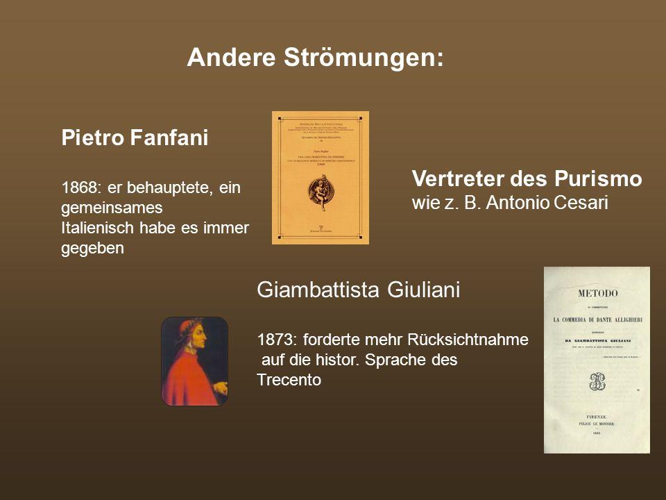 Andere Strömungen: Pietro Fanfani Vertreter des Purismo