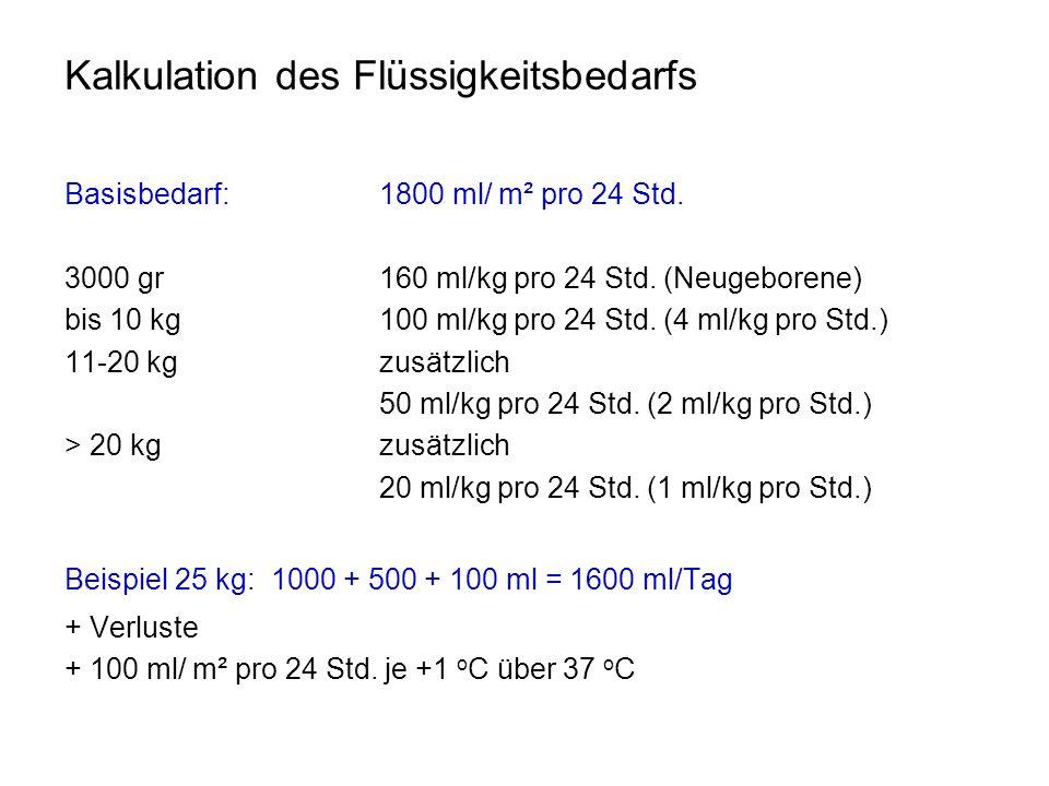 Kalkulation des Flüssigkeitsbedarfs