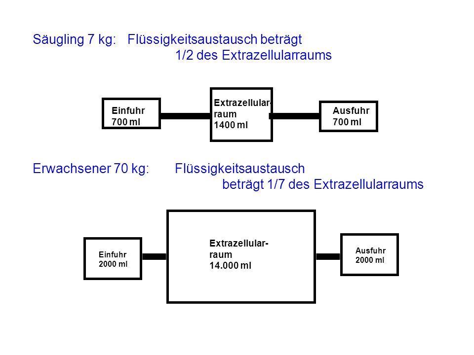 Säugling 7 kg: Flüssigkeitsaustausch beträgt