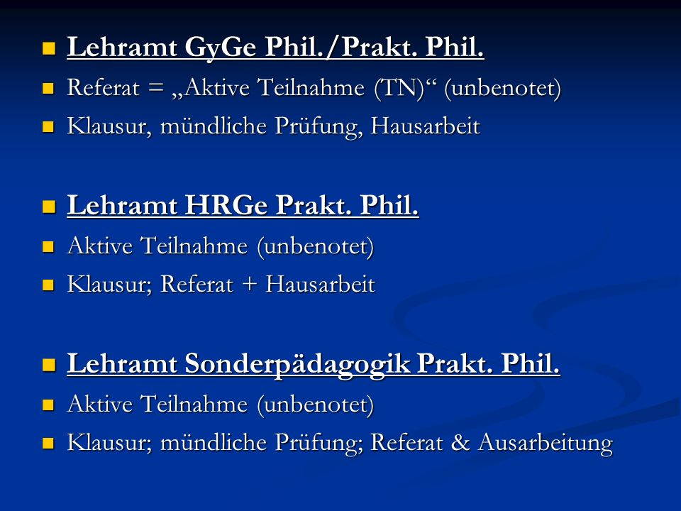 Lehramt GyGe Phil./Prakt. Phil.