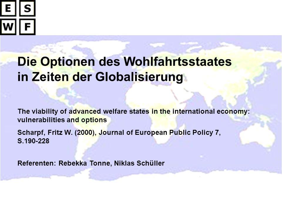 Die Optionen des Wohlfahrtsstaates in Zeiten der Globalisierung