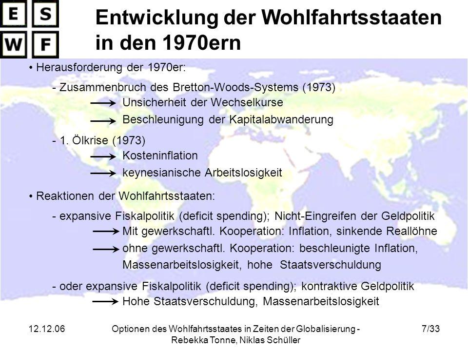 Entwicklung der Wohlfahrtsstaaten in den 1970ern