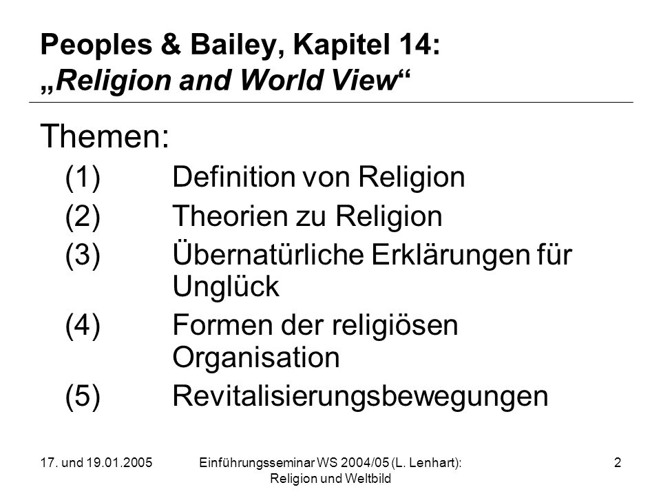 "Peoples & Bailey, Kapitel 14: ""Religion and World View"