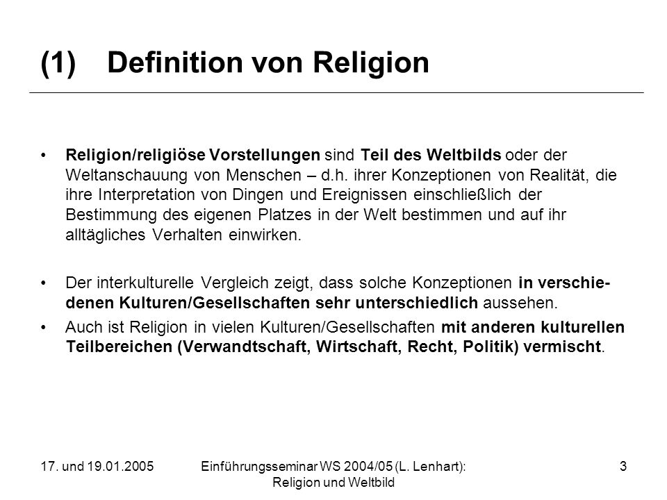 (1) Definition von Religion