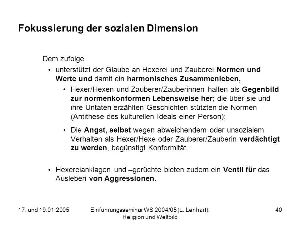 Fokussierung der sozialen Dimension