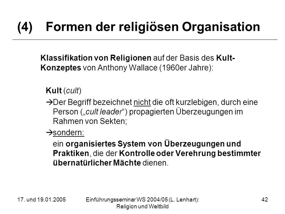 (4) Formen der religiösen Organisation