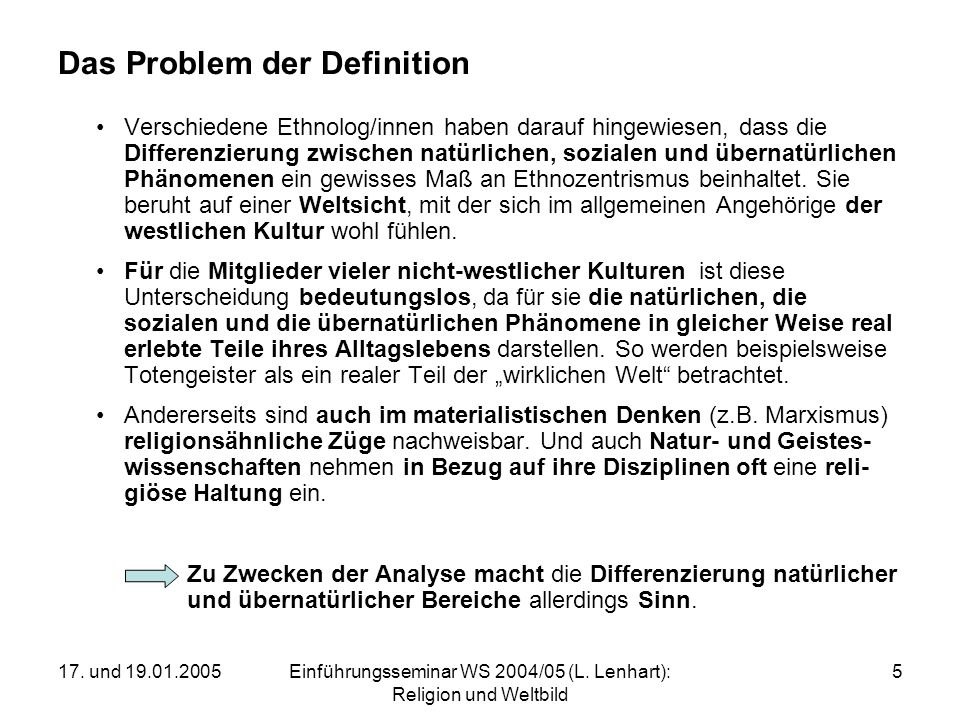 Das Problem der Definition