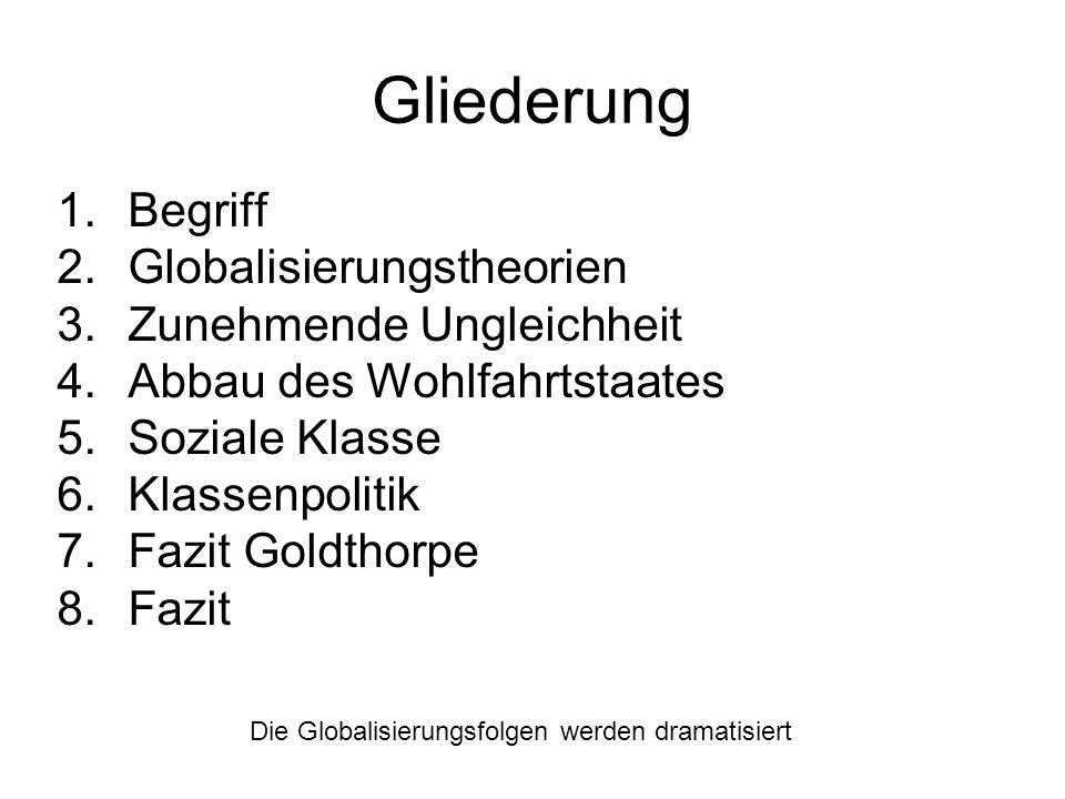 Gliederung Begriff Globalisierungstheorien Zunehmende Ungleichheit