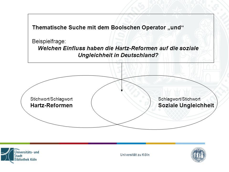 """Thematische Suche mit dem Boolschen Operator """"und Beispielfrage:"""