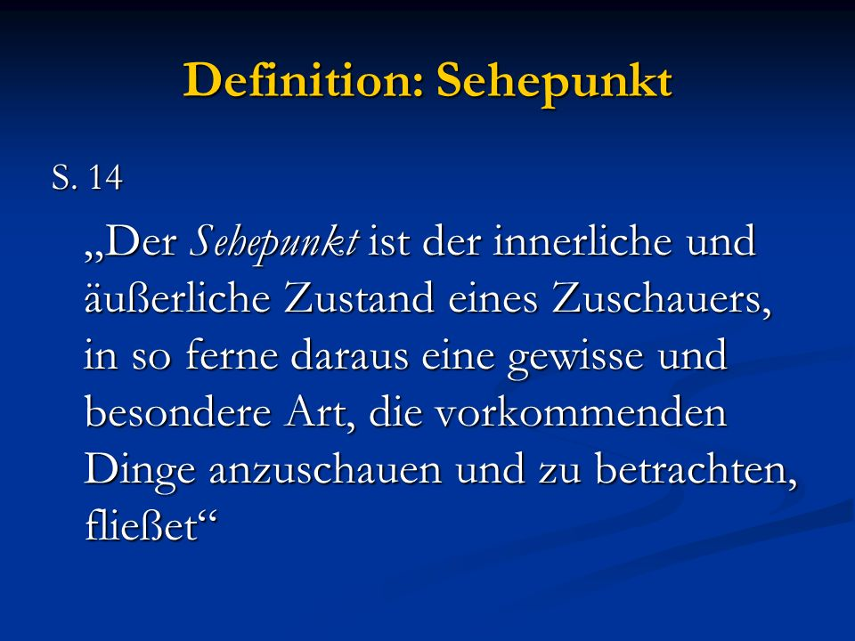 Definition: Sehepunkt