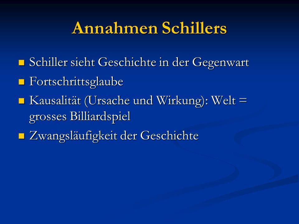 Annahmen Schillers Schiller sieht Geschichte in der Gegenwart