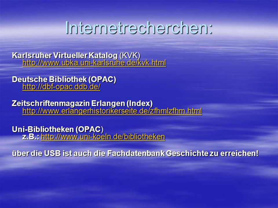 Internetrecherchen: Karlsruher Virtueller Katalog (KVK)