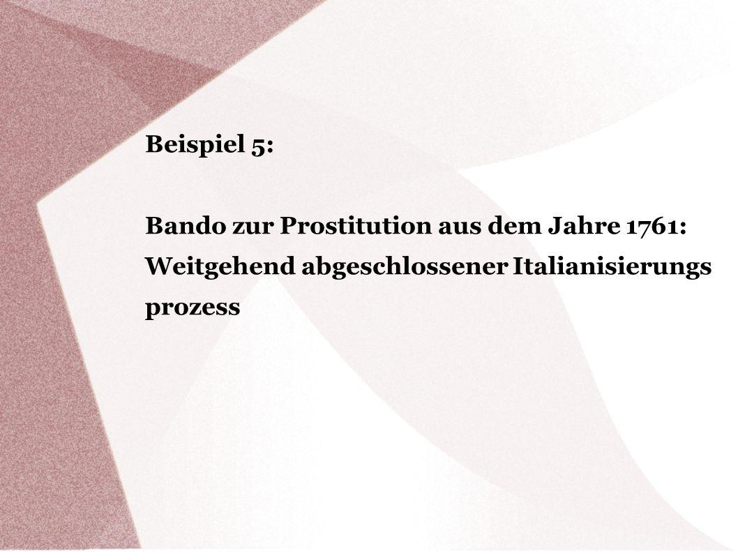 Bando zur Prostitution aus dem Jahre 1761: