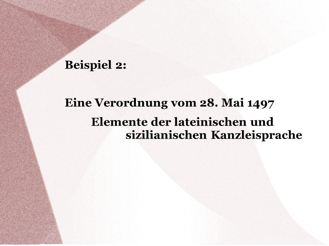 Eine Verordnung vom 28. Mai 1497