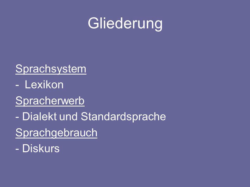 Gliederung Sprachsystem Lexikon Spracherwerb
