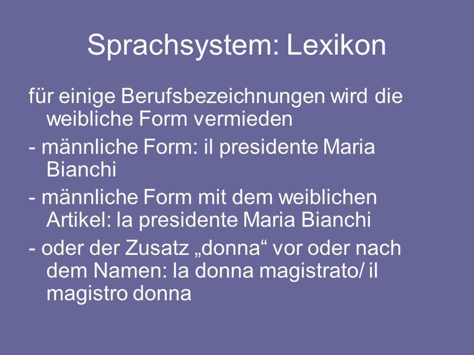 Sprachsystem: Lexikon