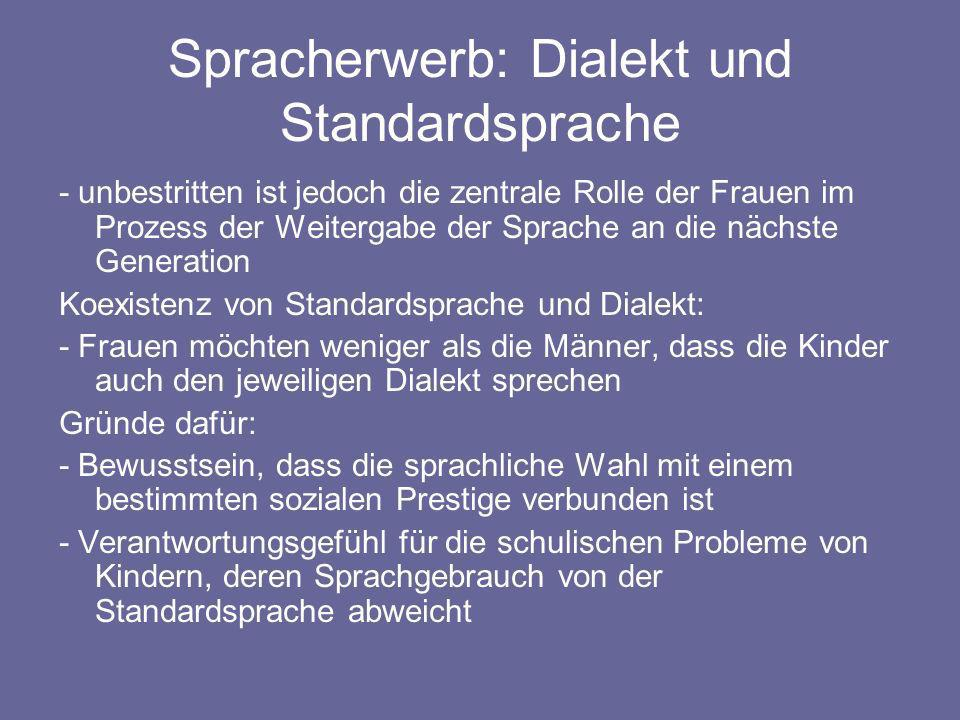 Spracherwerb: Dialekt und Standardsprache