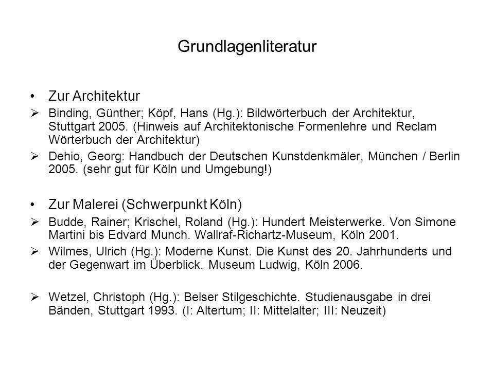 Grundlagenliteratur Zur Architektur Zur Malerei (Schwerpunkt Köln)