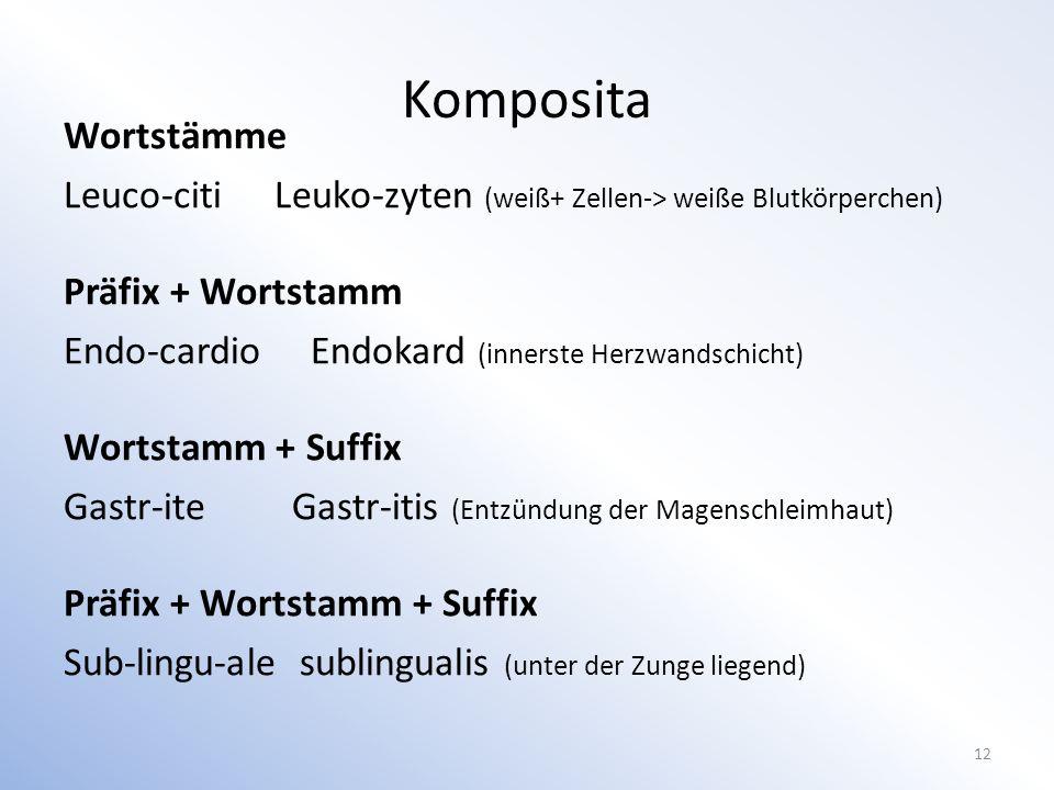 Komposita Wortstämme. Leuco-citi Leuko-zyten (weiß+ Zellen-> weiße Blutkörperchen) Präfix + Wortstamm.