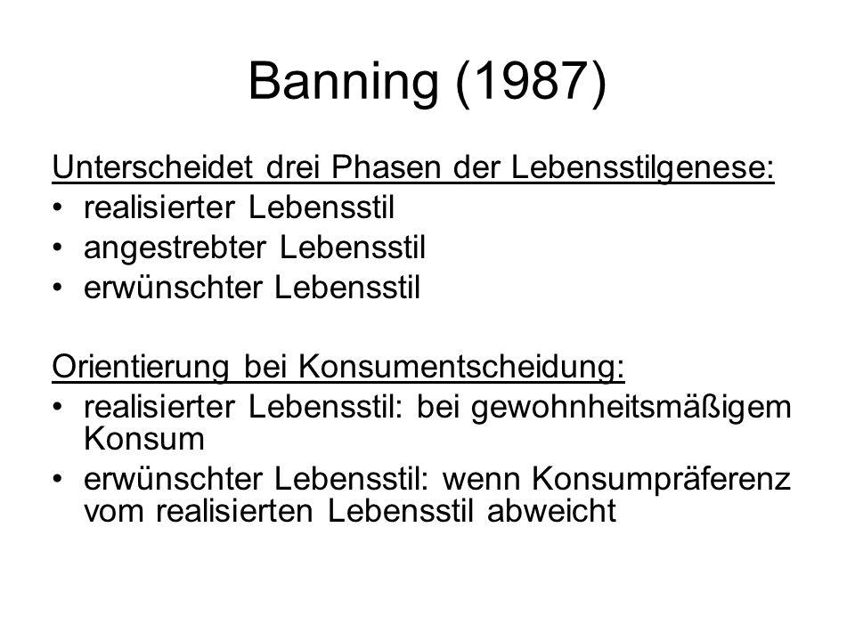 Banning (1987) Unterscheidet drei Phasen der Lebensstilgenese:
