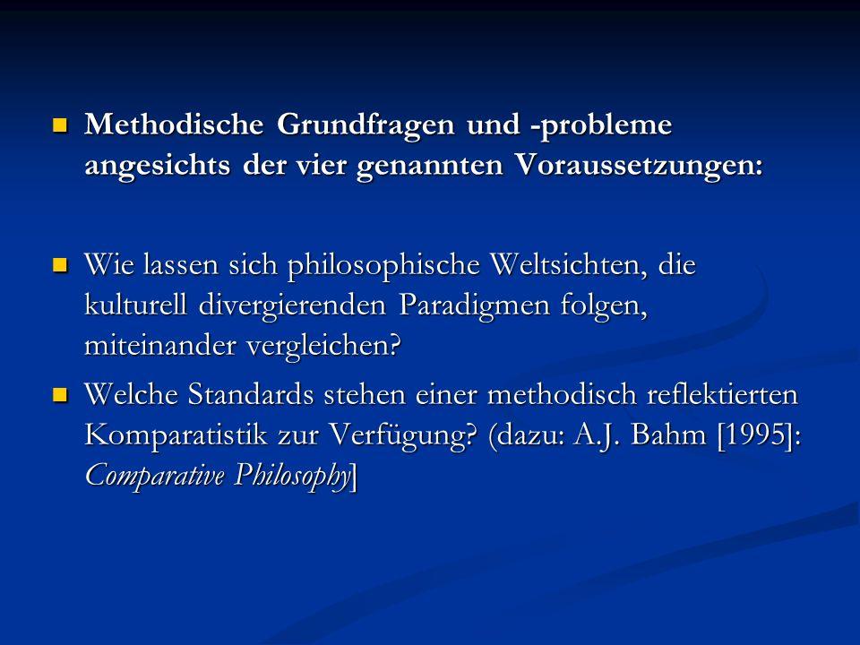 Methodische Grundfragen und -probleme angesichts der vier genannten Voraussetzungen: