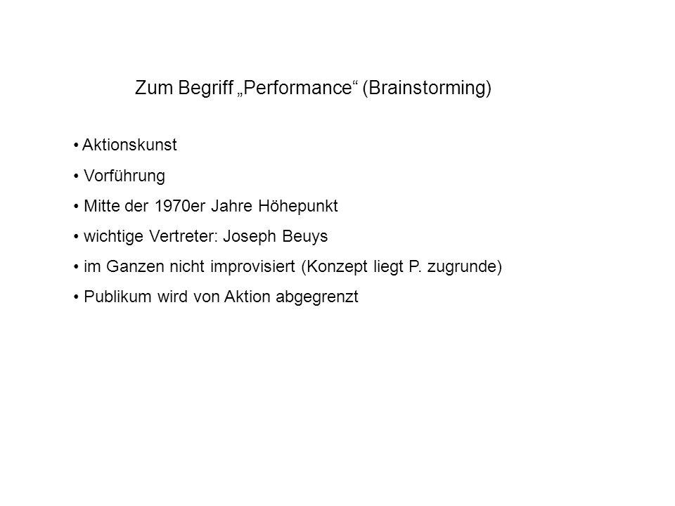 """Zum Begriff """"Performance (Brainstorming)"""