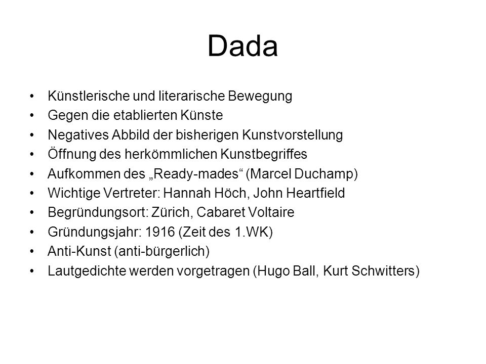 Dada Künstlerische und literarische Bewegung