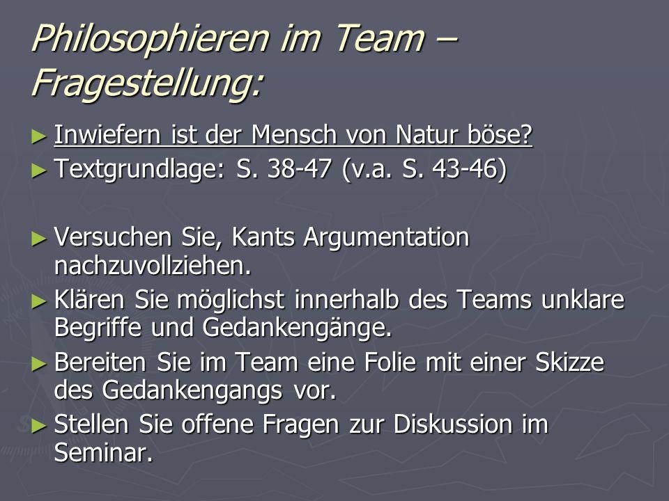 Philosophieren im Team – Fragestellung: